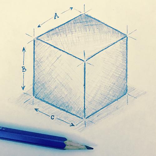 Cube sketch blue